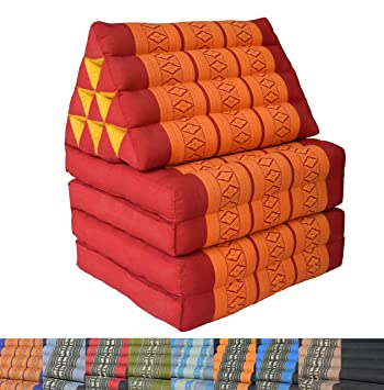 Cojín de suelo triangular tailandés 210cm, Rojo/Naranja ...
