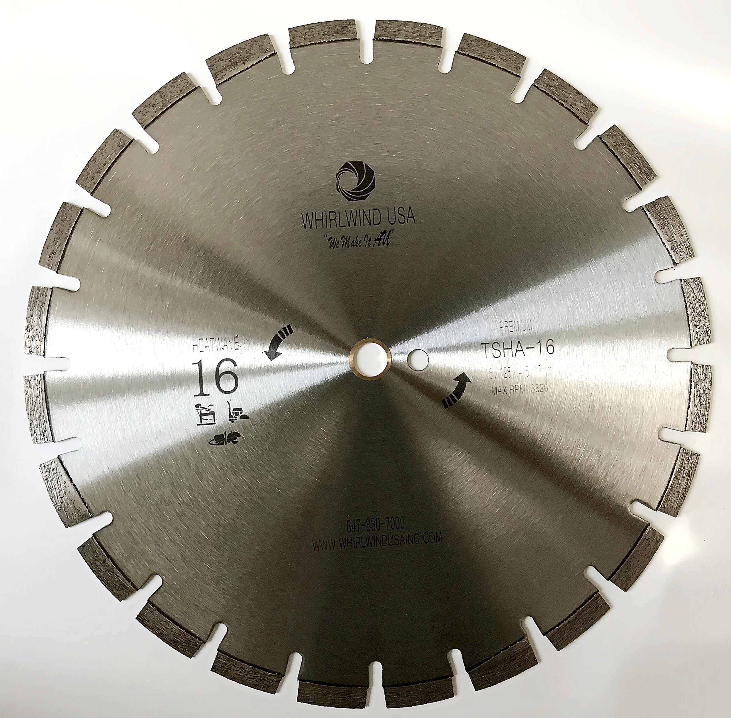 Whirlwind USA 16 inch Heatwave Dry Asphalt Cutting Laser Welded Segmented Diamond Saw Blades (16'')
