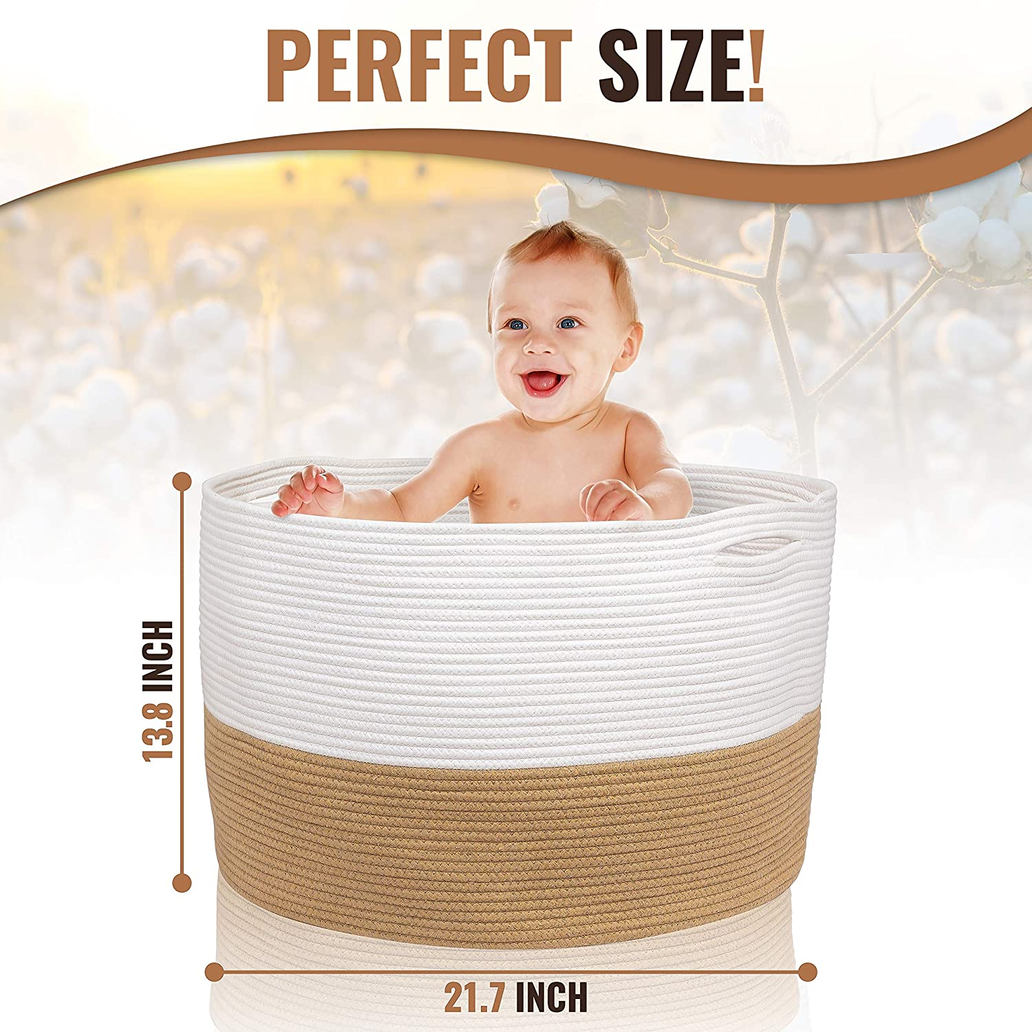 Extra Large Laundry Basket-White and Beige Blankets HOMYAM XXL Cotton Rope Basket 22/″x14/″ Nursery Toy basket Large Blanket Basket with Strong Invisible Handles Woven Storage Basket for Clothes