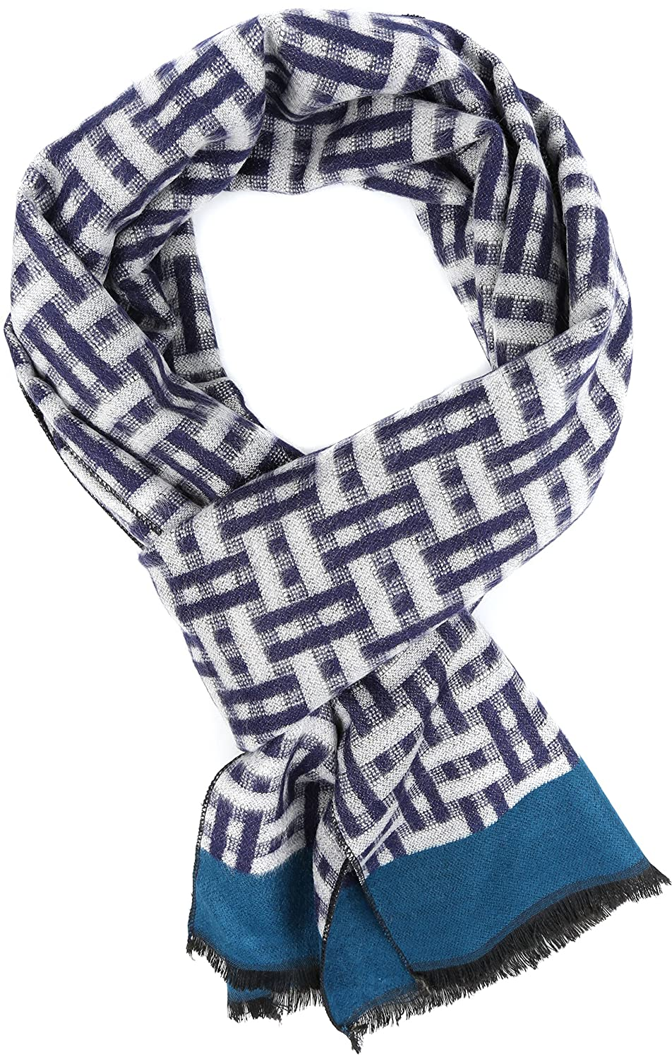 OS Sakkas SC161 YC16132-Rednavy Amerigo Patterned Colorful Super Soft and Warm Casual Everyday Scarf Unisex