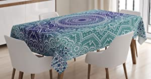 Ambesonne Navy and Teal Tablecloth, Cosmic Diagram Art Mandala Circle Religion Ethnic Ombre Art Illustration, Dining Room Kitchen Rectangular Table Cover, 60 W X 84 L Inches, Dark Blue Teal