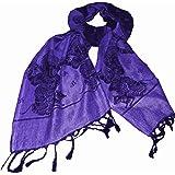 Écharpe Himalaya Ganesh Foulard Noir violet 200x70cm Tissu Viscose Soie artificielle Accessoire Vêtement
