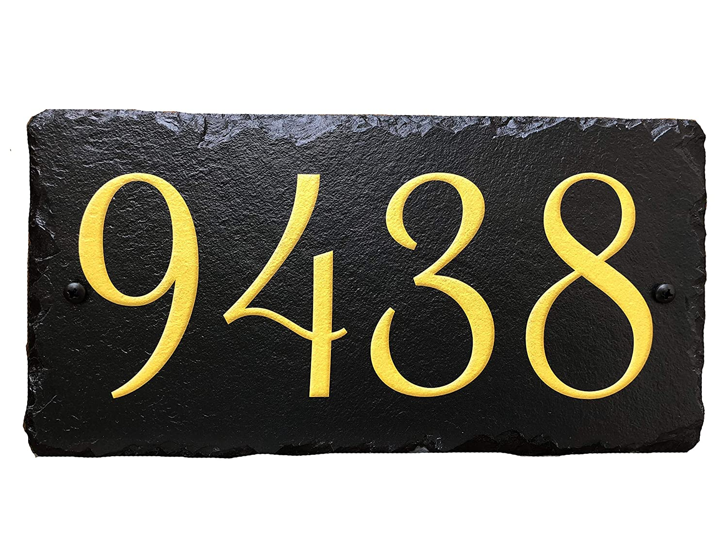 Sassy Squirrel Handcrafted and Customizable Slate Home Address Plaque Gold/Silver on Black (12x6) Sassy Squirrel Ink 5355925225171