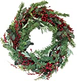 The Wreath Depot Greenwood Berry Winter Wreath, 22 Inches