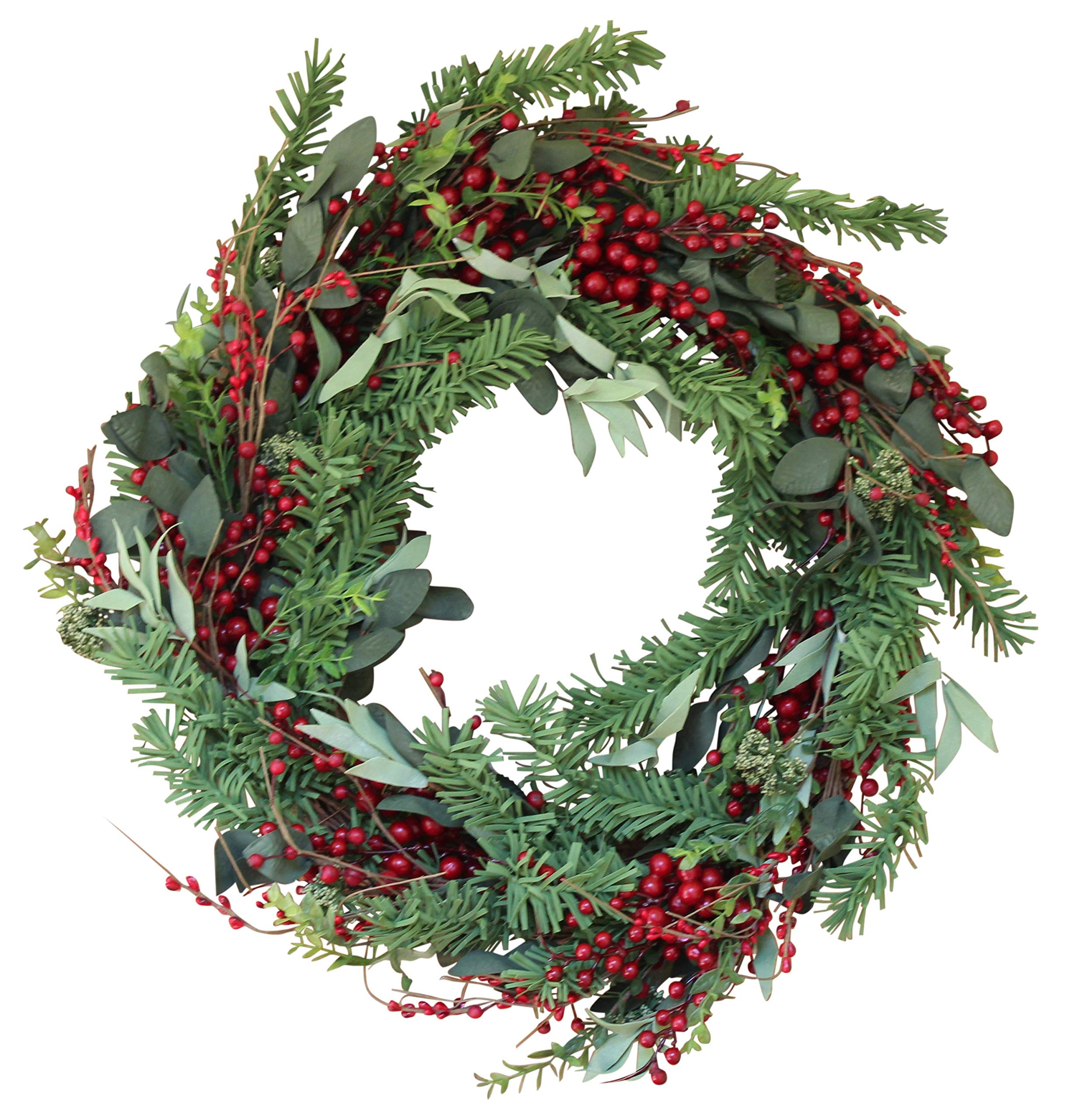 The Wreath Depot Greenwood Berry Winter Wreath, 22 Inches, Enhances Front Door Decor for All Winter Long, Beautiful White Gift Box by The Wreath Depot