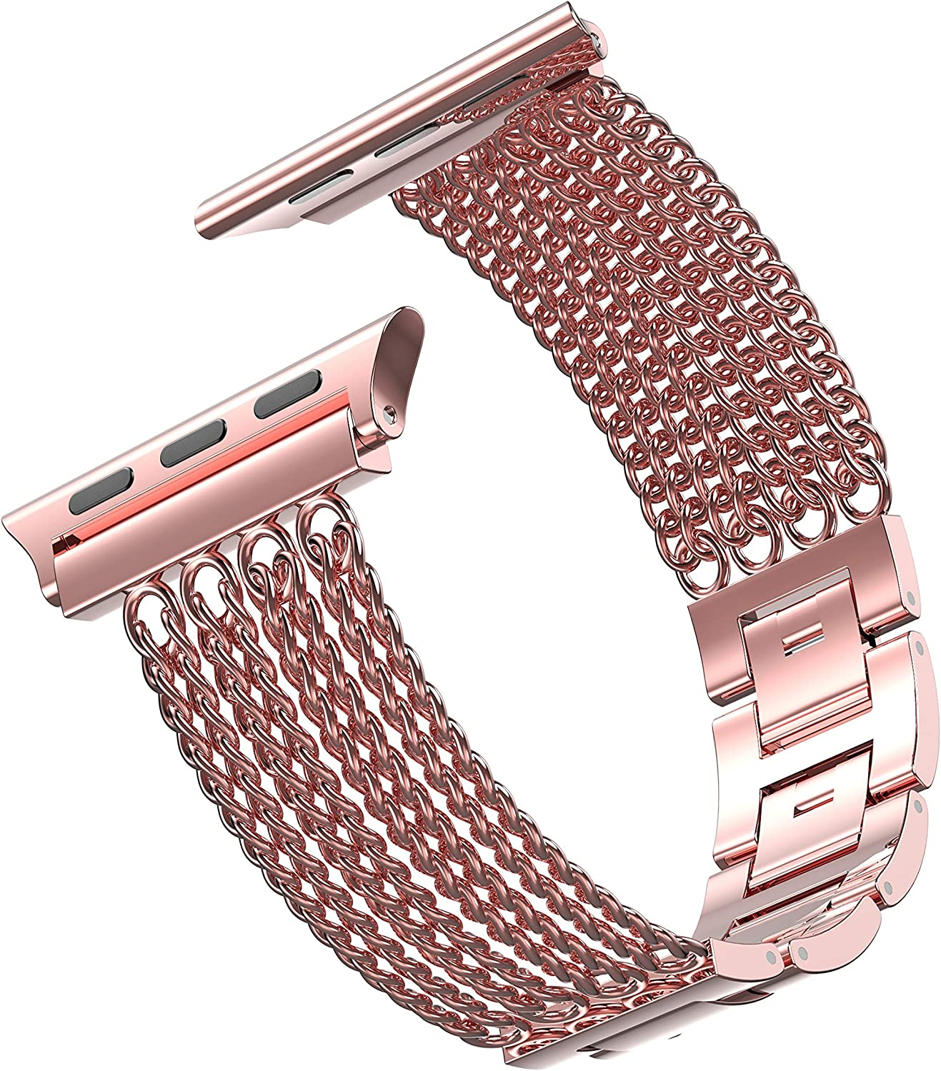 Anoxin Compatible with Apple Watch Band 38mm 40mm for Women Stainless Steel Chain Bracelet Replacement Strap iWatch Band for Apple Watch Series SE/6/5/4/3/2/1 (42mm/44mm,Rose Gold)