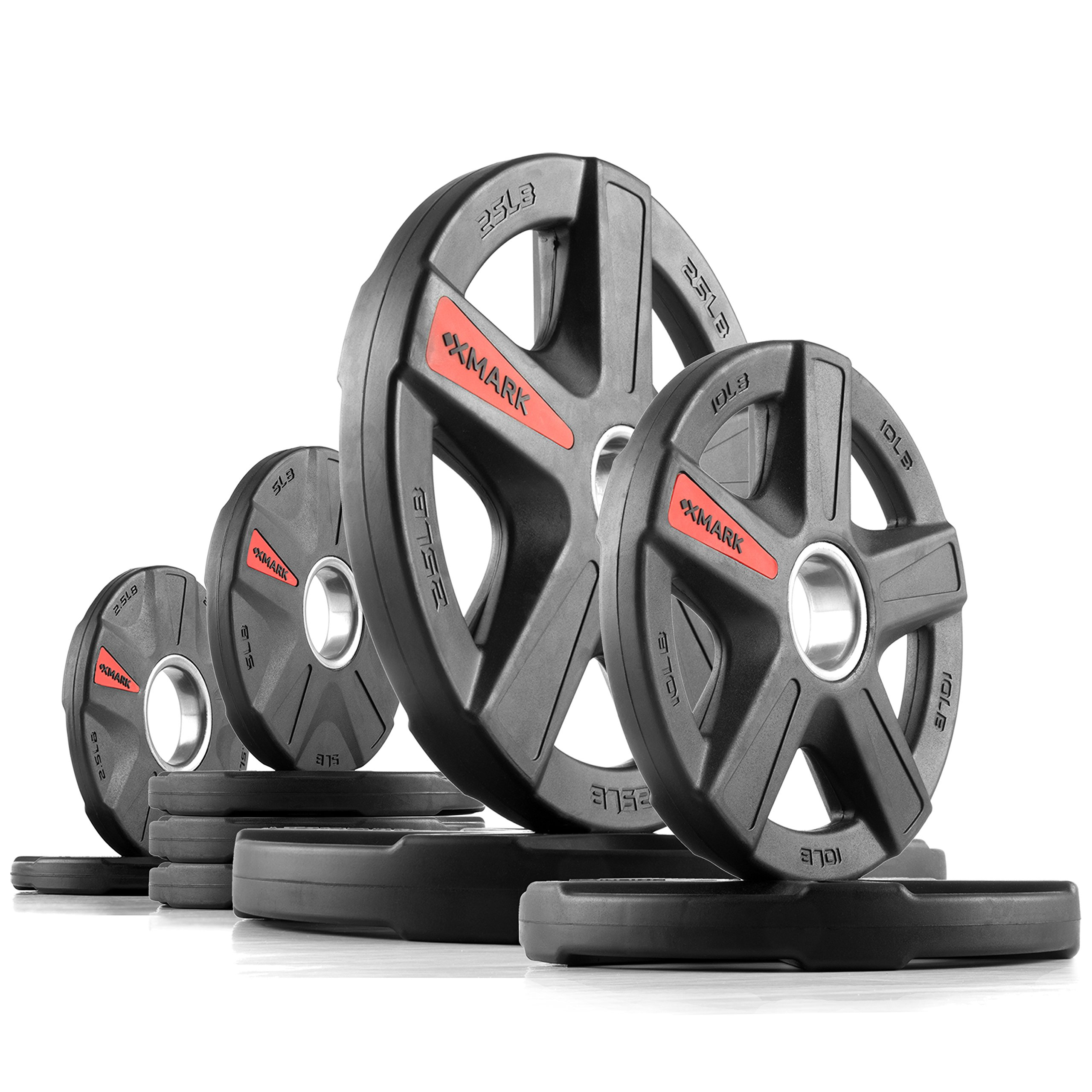 XMark Texas Star 95 lb Set Olympic Plates, Patented Design, One-Year Warranty, Olympic Weight Plates by XMark Fitness (Image #1)