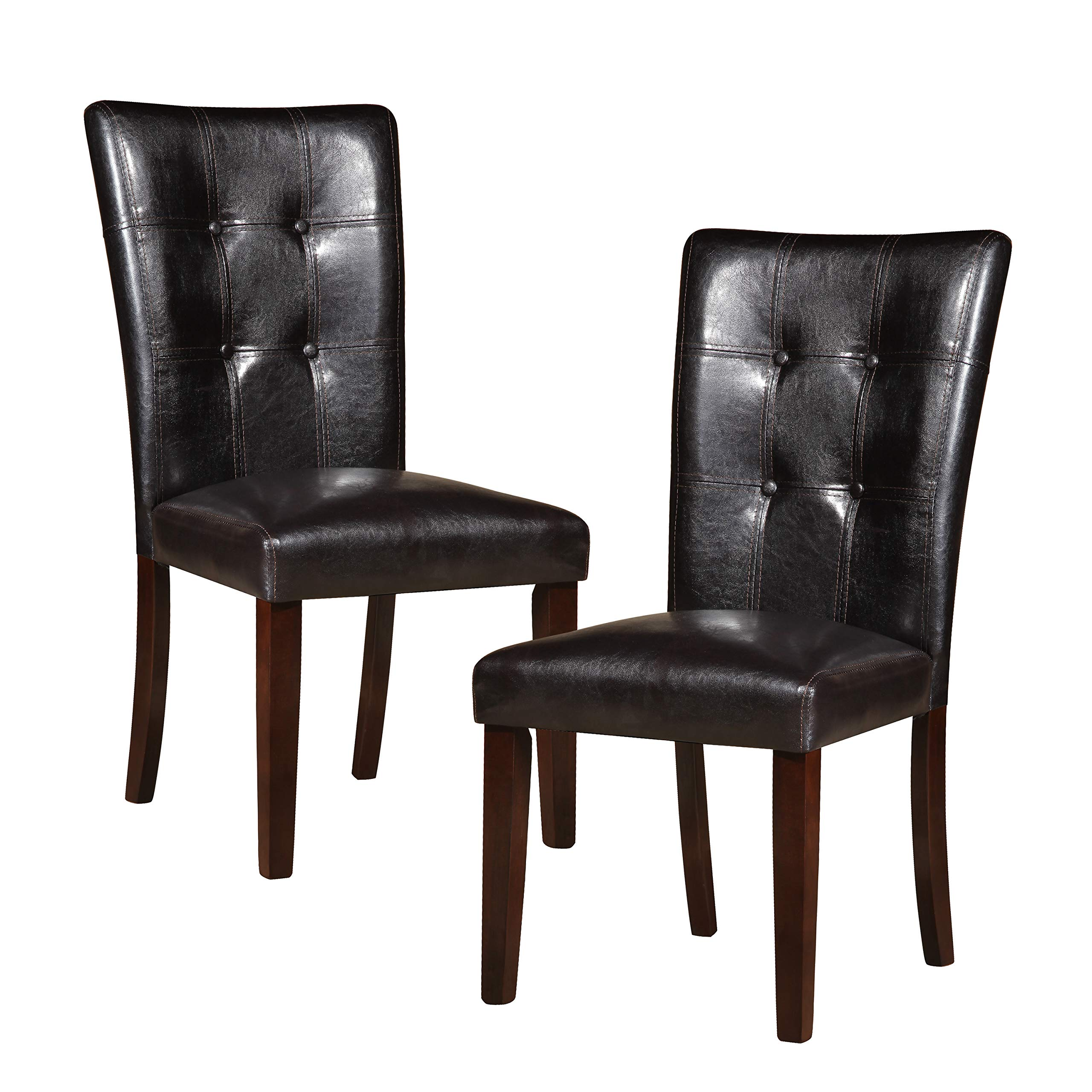 Homelegance Decatur PU Leather Dining Chair (Set of 2), Dark Brown by Homelegance