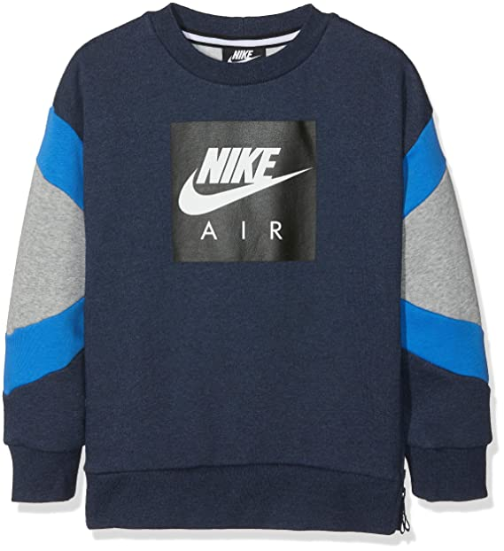 Nike B Nk Air Crew suéter, Azul (Obsidianheather/Dk Grey Heather 473)