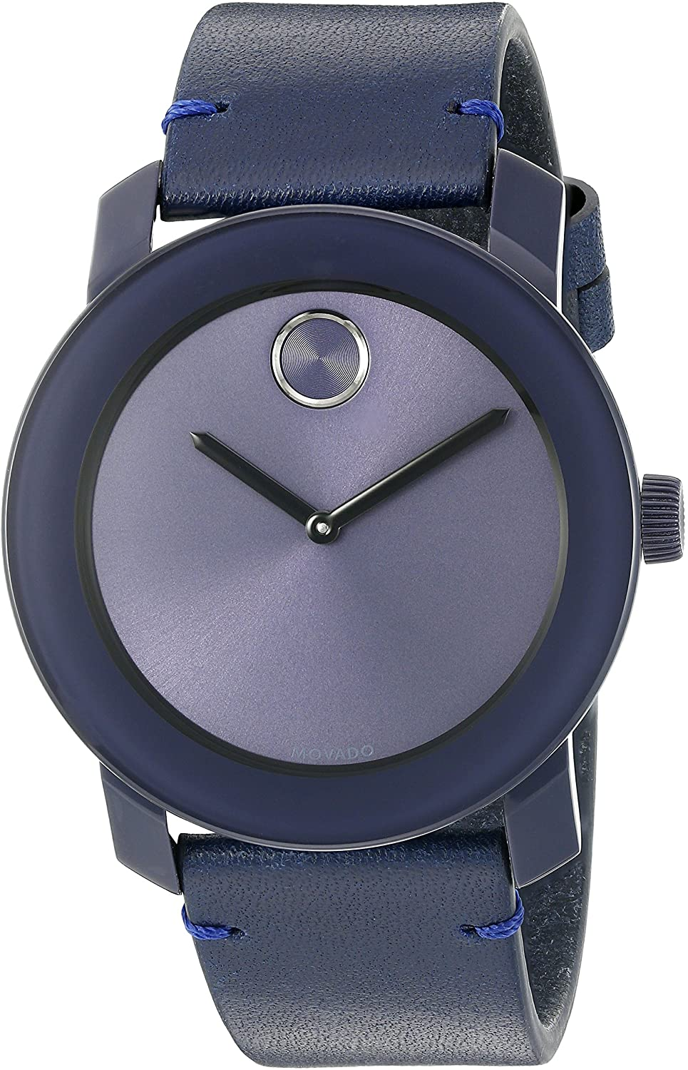 Movado Men s Swiss Quartz Stainless Steel and Leather Watch, Color Blue Model 3600370