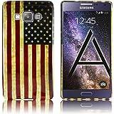 Samsung Galaxy A5 2015 Silikon-Hülle USA Vintage (nicht für A5 2016) weiche Tasche Cover Case Bumper Etui Flip smartphone handy backcover thematys®
