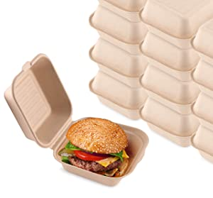 Bagasse Clamshell Takeout Containers, Biodegradable Eco Friendly Take Out to Go Food Containers with Lids for Lunch Leftover Meal Prep Storage, Microwave and Freezer Safe, 6x6, 1 Compartment, 50 Pack