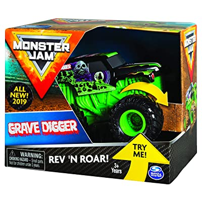 Monster Jam Official Grave Digger Rev 'N Roar Monster Truck, 1:43 Scale: Toys & Games