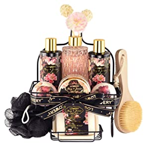 Lovery's Spa Gift Basket Bath & Shower Caddy - 11 Piece Set - Fresh Peony and Jasmine Fragrance - Paraben & Cruelty Free - Perfect Gift Idea For All Occasion