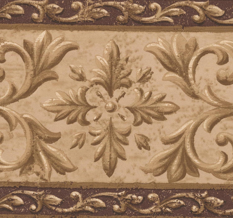 Brown Beige Abstract Damask Wallpaper Border Retro Design, Roll 15' x 7.12''