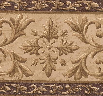 Brown Beige Abstract Damask Wallpaper Border Retro Design Roll 15 X 712