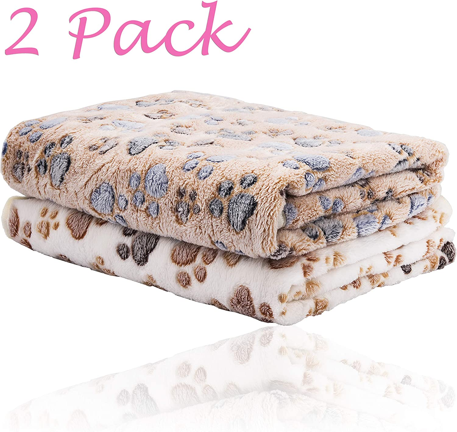 iNNEXT 2 Pack Puppy Blanket for Pet Cushion Small Dog Cat Bed Soft Warm Sleep Mat, Pet Dog Cat Puppy Kitten Soft Blanket Doggy Warm Bed Mat Paw Print: Home & Kitchen