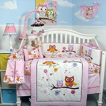 Amazon.com : SoHo Pink Dancing Owl Baby Crib Nursery Bedding Set ...