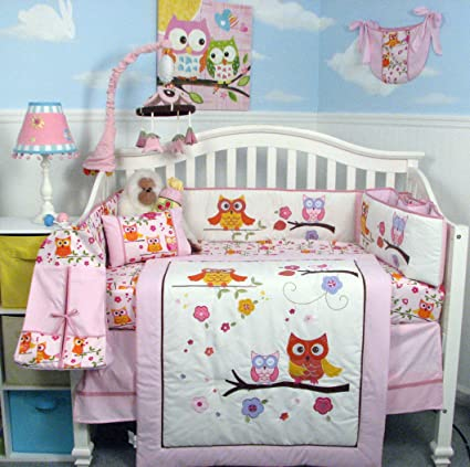 SoHo Pink Dancing Owl Baby Crib Nursery Bedding Set with Diaper bag 14 pcs set