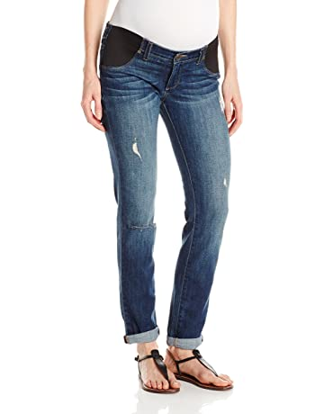 53dd31189a PAIGE Women s Maternity Jimmy Skinny with Elastic Insets in Tawni  Destruction