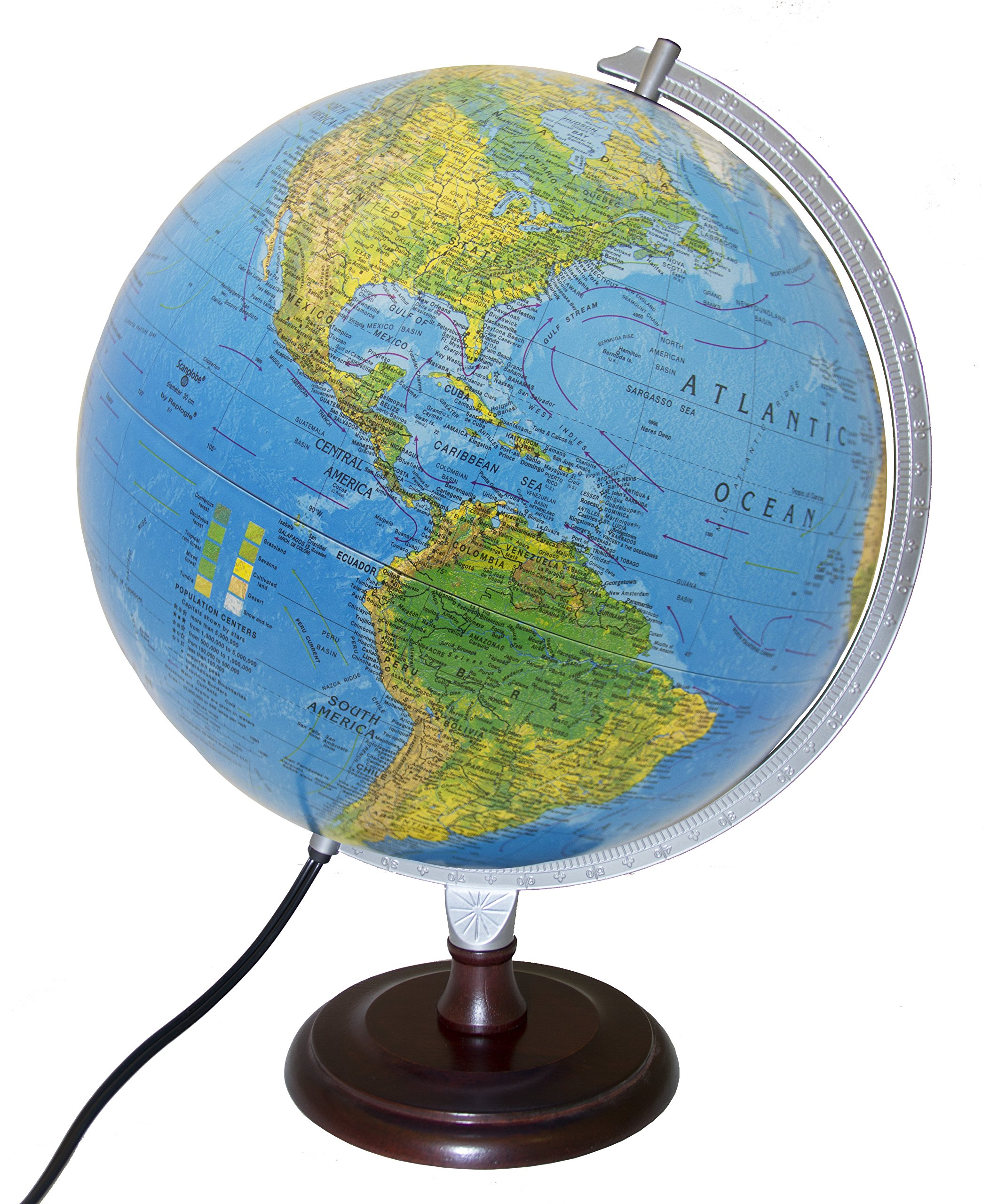 Replogle Toledo Blue Ocean Illuminated Desktop Globe with Hardwood Cherry Finish Base (12''/ 30cm Diameter)