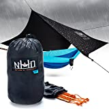 Hammock Rain Fly Tarp - 100% Waterproof SilNylon Hammock Tent, Oversized Double Parachute Style Hammocking, Lightweight Tarp Tent Ideal for Camping & Backpacking, Essential Hammock Cover Accessory
