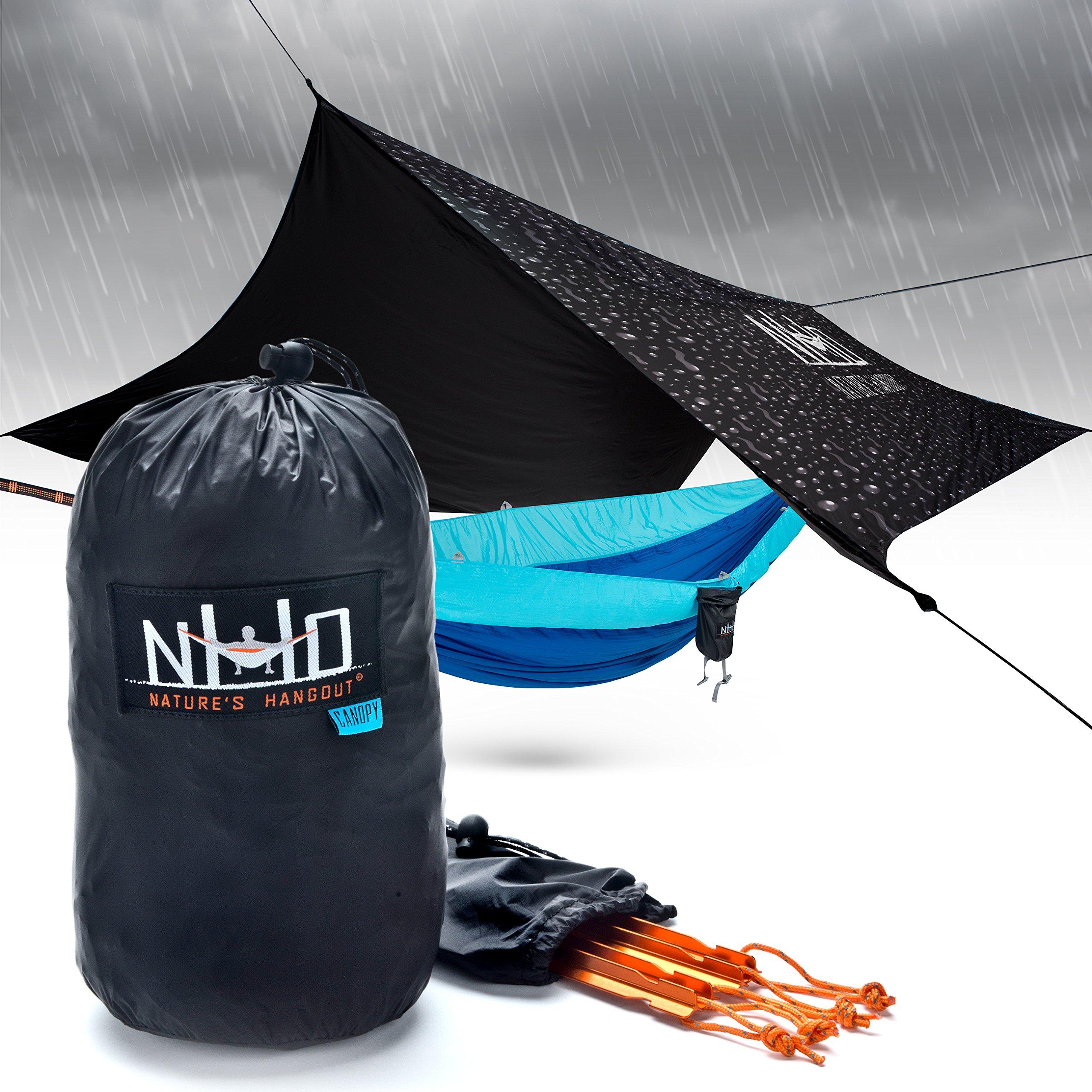 Hammock Rain Fly Tarp - 100% Waterproof SilNylon Hammock Tent, Oversized Double Parachute Style Hammocking, Lightweight Tarp Tent Ideal for Camping & Backpacking, Essential Hammock Cover Accessory