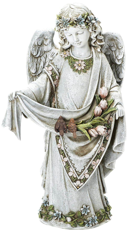 Roman Josephs Studio Inspirational Girl Angel Wearing Floral Trimmed Gown with Birds Garden Statue, 16.5-Inch