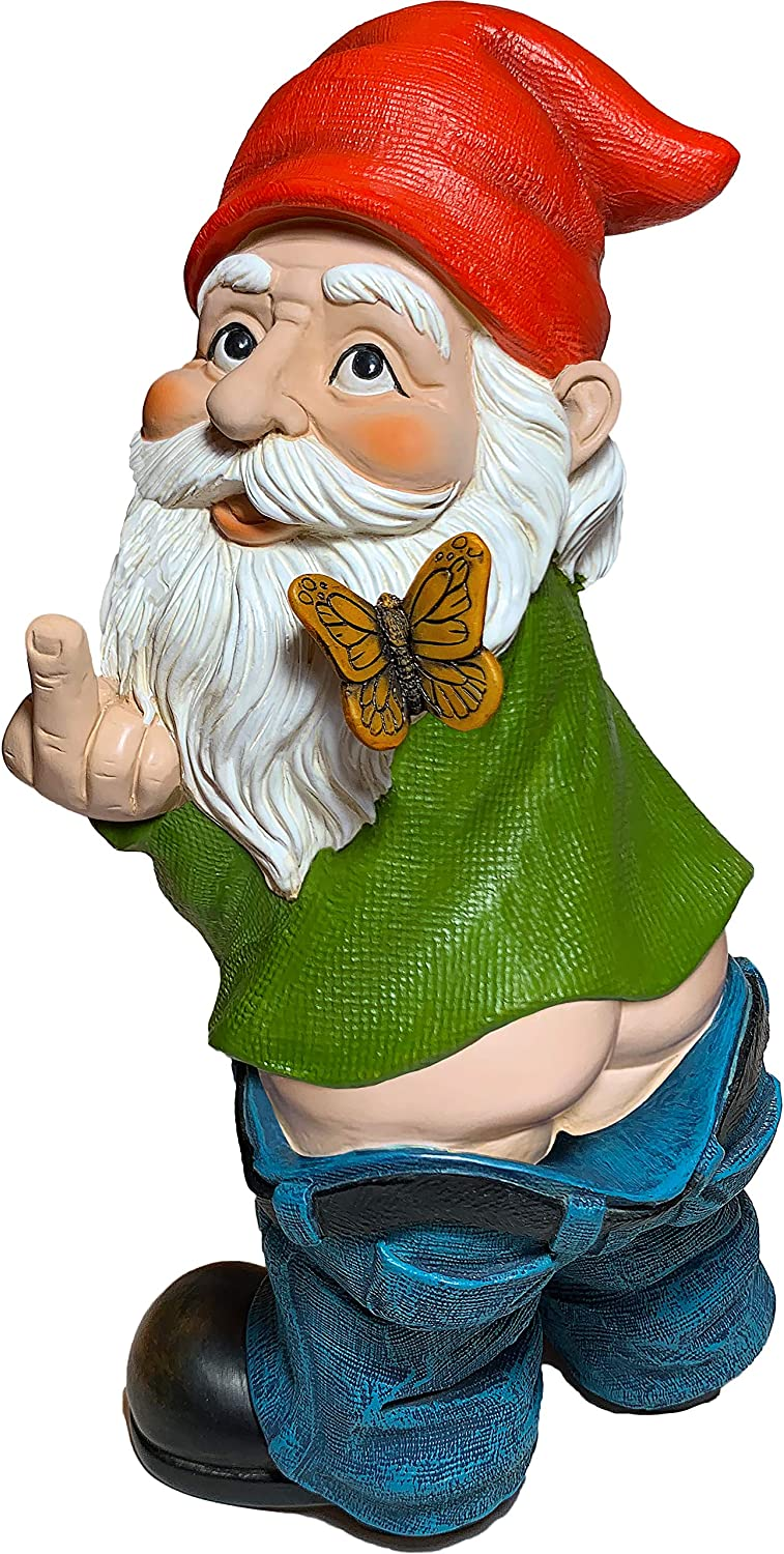 Mood Lab Garden Gnome - Pants Down Gnome - 9.45 Inch Tall Finger Statue - Lawn Garden Figurine