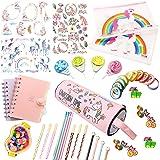 Assorted Unicorn School Supplies Pen Pencil Case Eraser Note Stationery Gift Set (48Pcs)