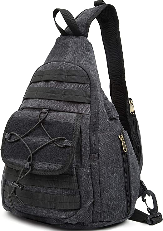 MAN BAG WITH POCKETS SIDE BAG HEAVY DUTY ARMY STYLE BLACK CANVAS MESSENGER