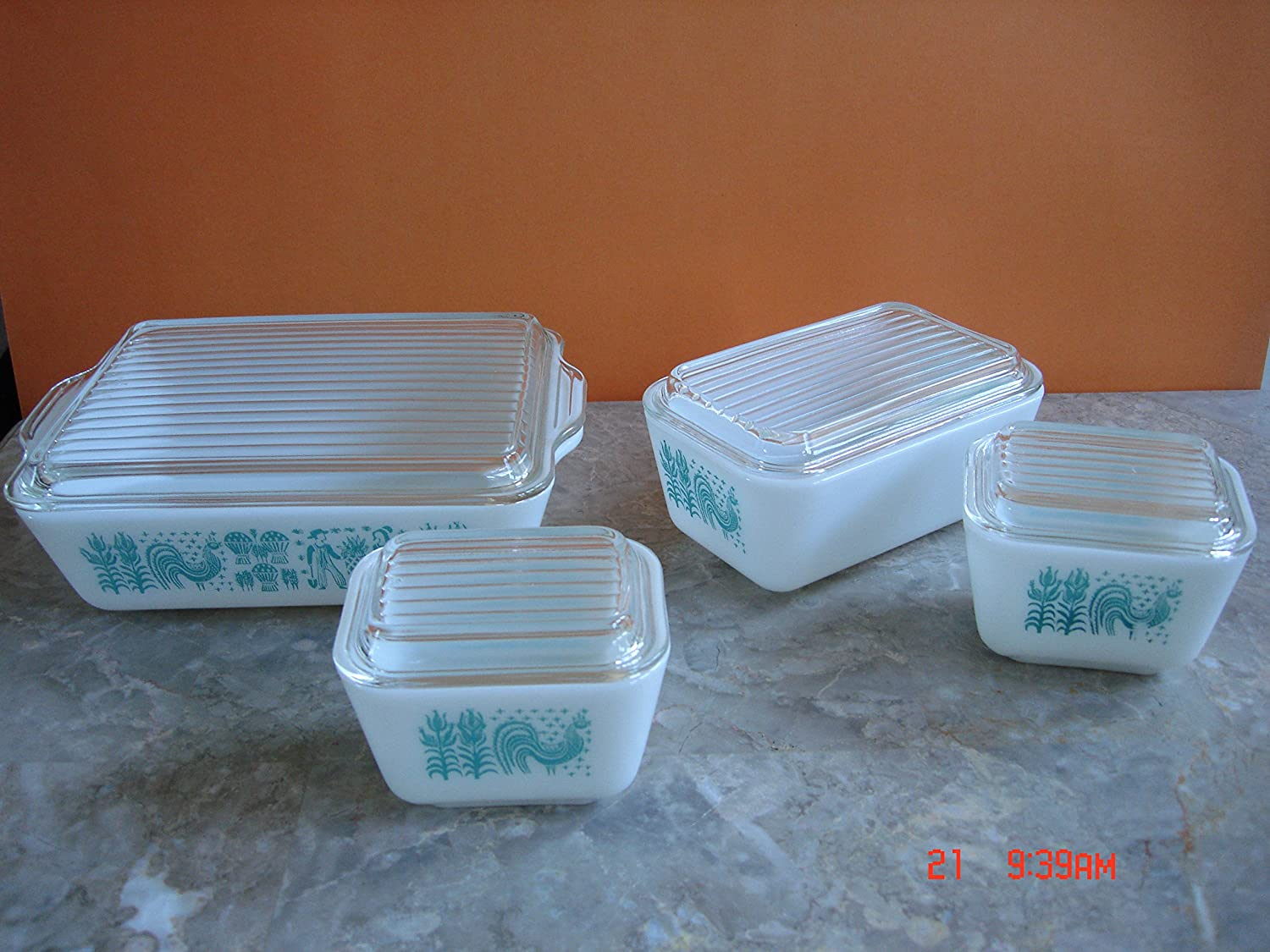 Vintage Pyrex Amish Butterprint Covered 8pc Refrigerator / Oven Bakeware Set