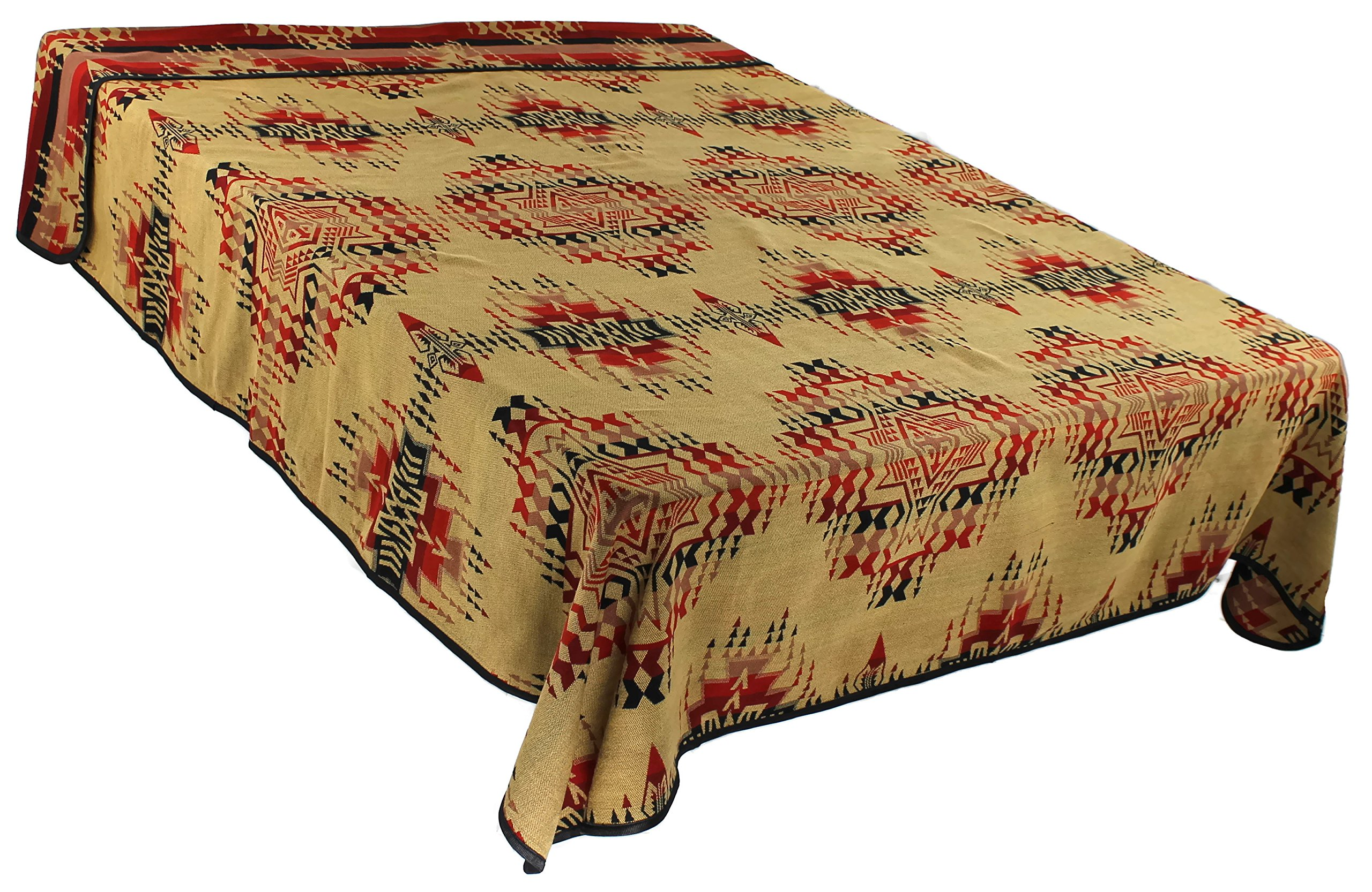 Splendid Exchange Southwestern Bedding Freedom Collection, Mix and Match, Queen/Full Size Reversible Bedspread, High Noon Tan and Red