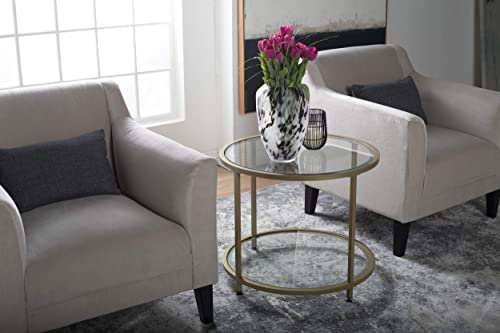 Studio Designs Home Camber 2-Tier Modern 26 Round End SideTable in Gold Clear Glass