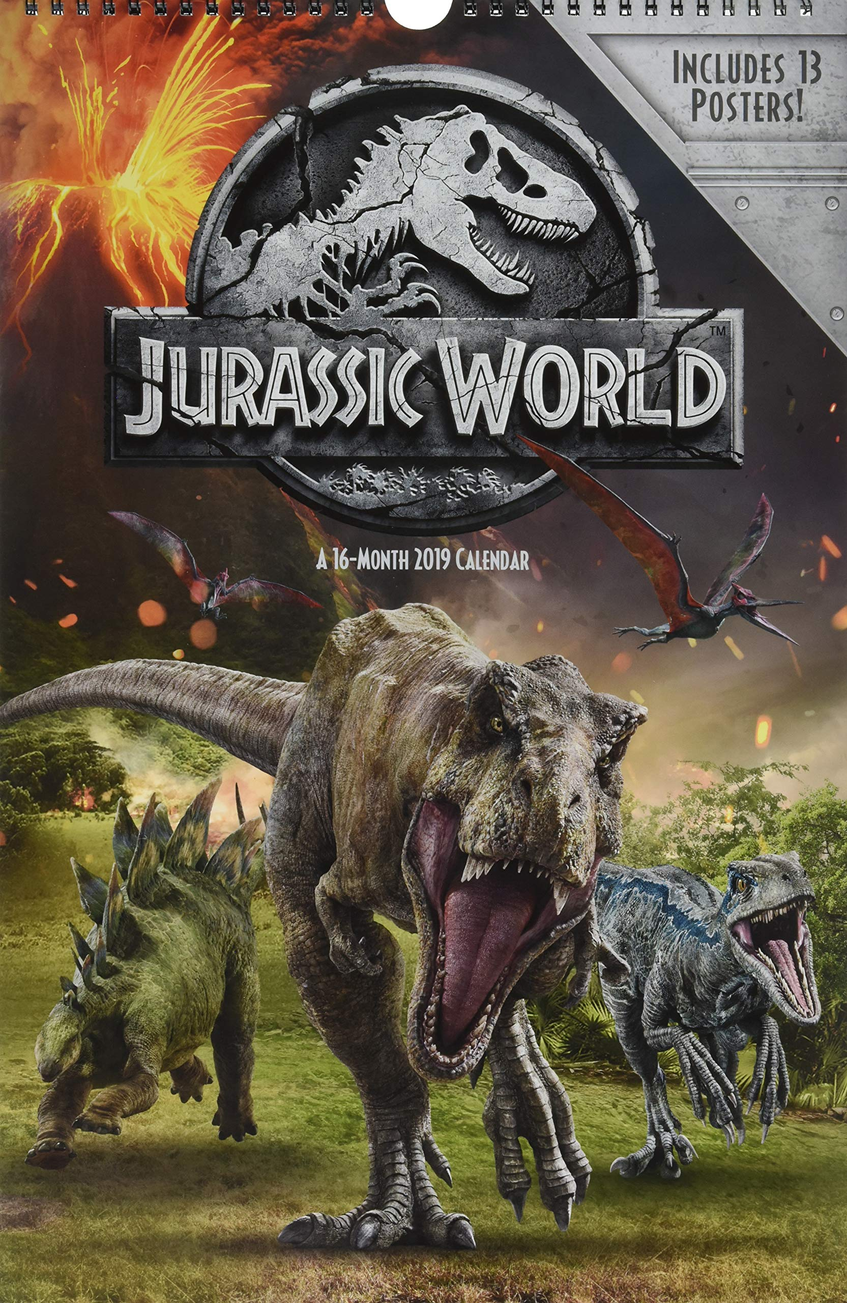 2019 jurassic world fallen kingdom oversized calendar