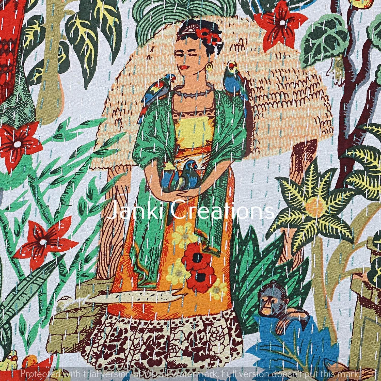 Janki Creation Hippie Green Floral Print Cotton Kantha Quilts Bohemian Queen Size Frida Kahlo Handmade Gudri Throw Reversible Kantha Bed Cover