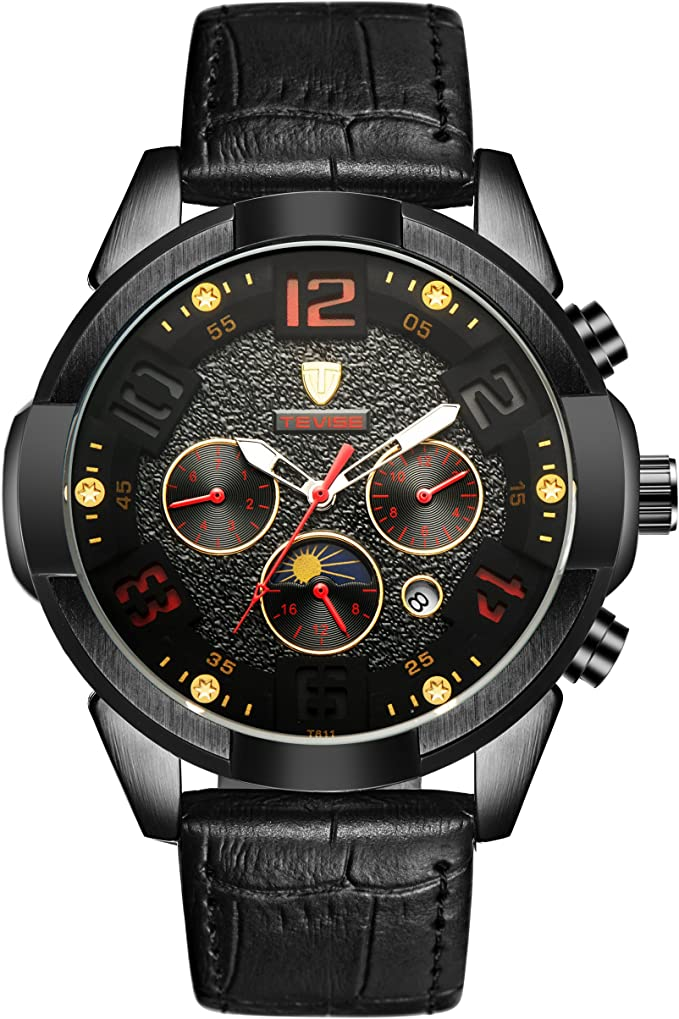 TEVISE Mens Watches Wristwatch Mechanical Sports Automatic New Fashion Casual Cool Black