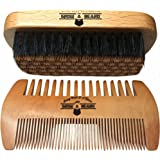 Beard Grooming Kit For Men Care - Gift Box & Travel Bag - Boar Bristle Brush & Dual Action Comb - Great to Distribute Your Balm Or Oil for Growth & Styling - Adds Shine & Softness