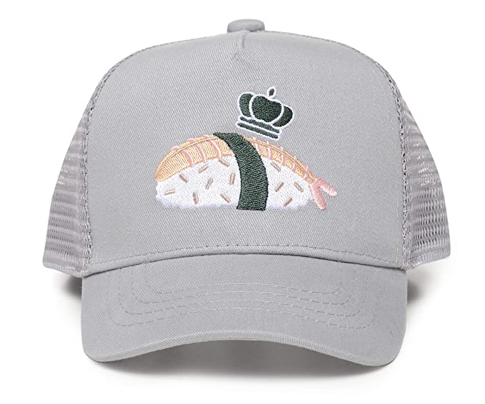 Little Crowns NYC Kids' Embroidered Baseball Cap Sun Protection Trucker Hat Sushi