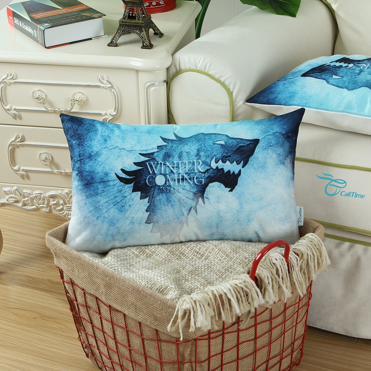 CaliTime Cushion Covers Bolster Pillow Case Shells for Bed Sofa Couch 30cm X 50cm, A Game of Thrones, Houses Stark Winter Is Coming Qingdao Ray Trading Co. Ltd. DSCF015E