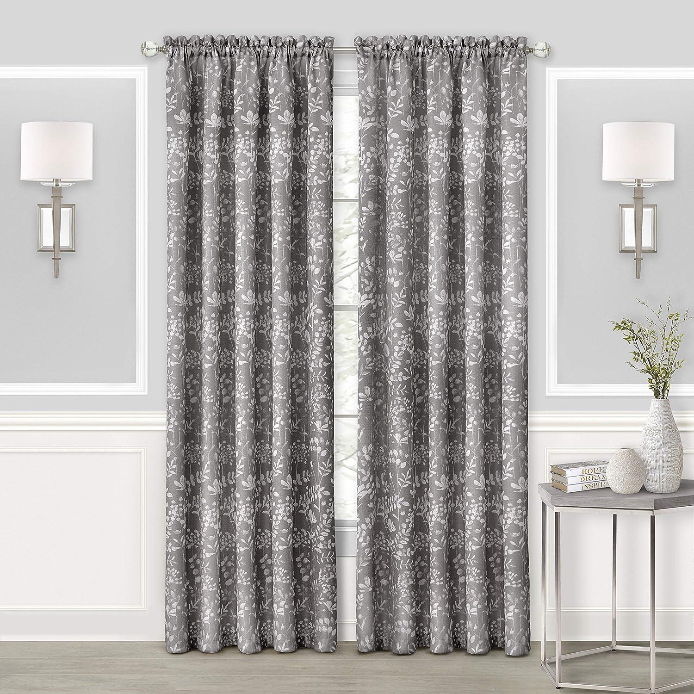 Achim Home Furnishings, Grey Charlotte Rod Pocket Window Curtain Panel, 52
