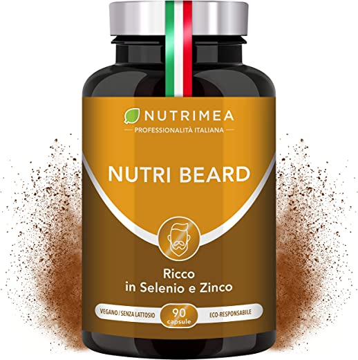 Crescita Barba Uomo Plus • Cheratina Zinco Vitamina D3 B12 B6 B2 MSM • Stimola la Crescita della Barba