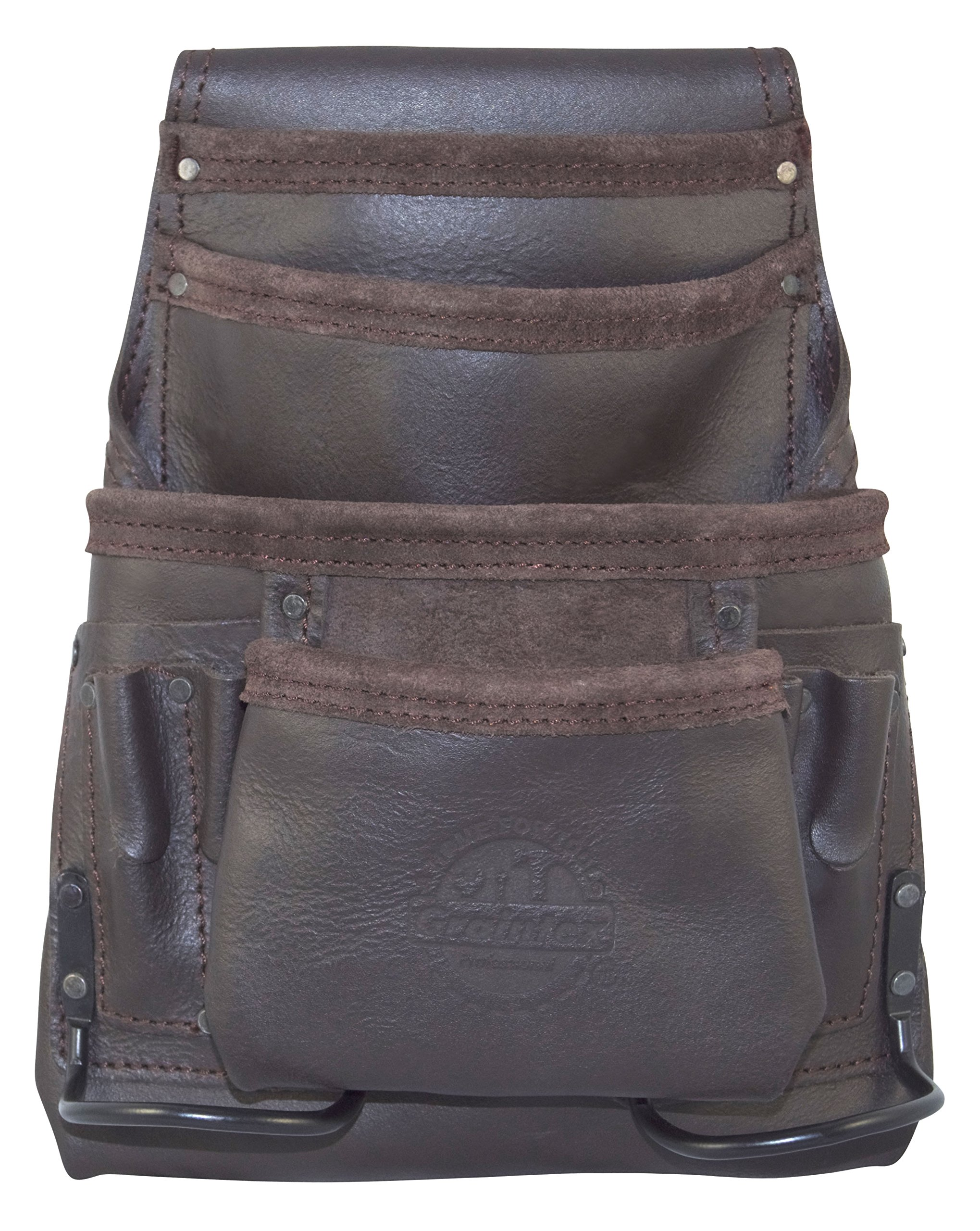 Graintex OS2250 10 Pocket Oil Tanned Leather Nail & Tool Pouch with 2 Hammer Holders
