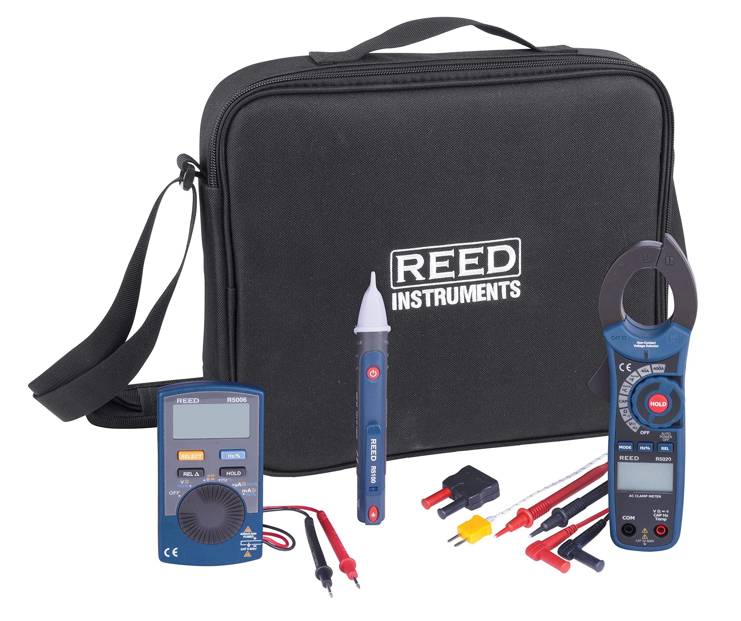 Reed ST-ELECTRICKIT Electrician's Kit with Continuity Tester, Clamp Meter, Voltage Detector, Thermocouple Probe, Input Adapter, and Test Leads