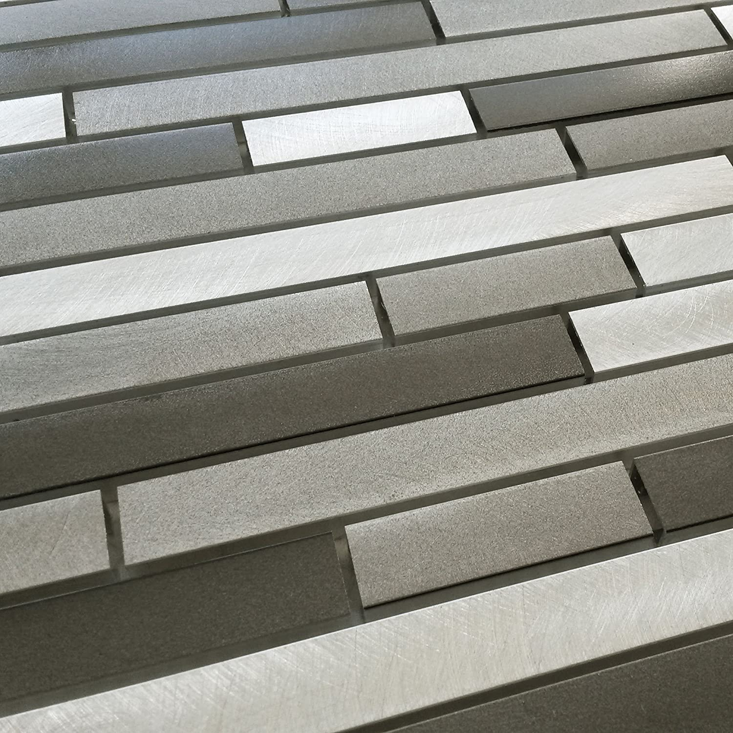 New Luxury Silver Grey Turned Steel Metal Rectangle Mosaic Wall Tiles. Household Discount