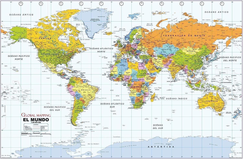 Amazon Com Political World Wall Map Spanish Language Mapa