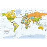 Amazon world map in spanish wall maps office products political world wall map spanish language mapa poltico del mundo idioma espaol gumiabroncs Choice Image