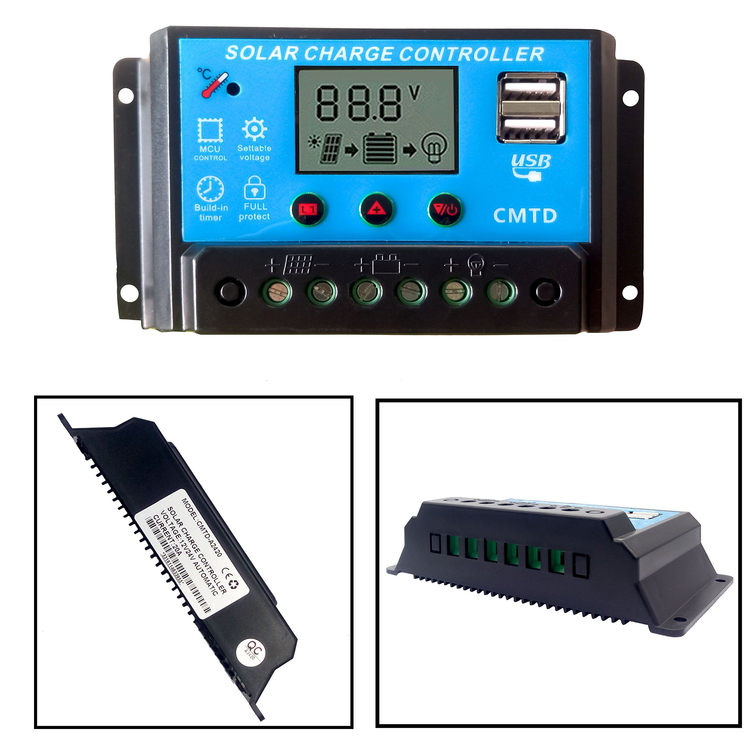 Tumo-Int 20 Amp Intelligent Solar Charging Controller with LCD Display and USB Sockets, 12/24V Straight Lights