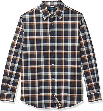 Perry Ellis Mens Navy Checks /& Plaids Gingham Button Down Shirt Modern Fit Sz L