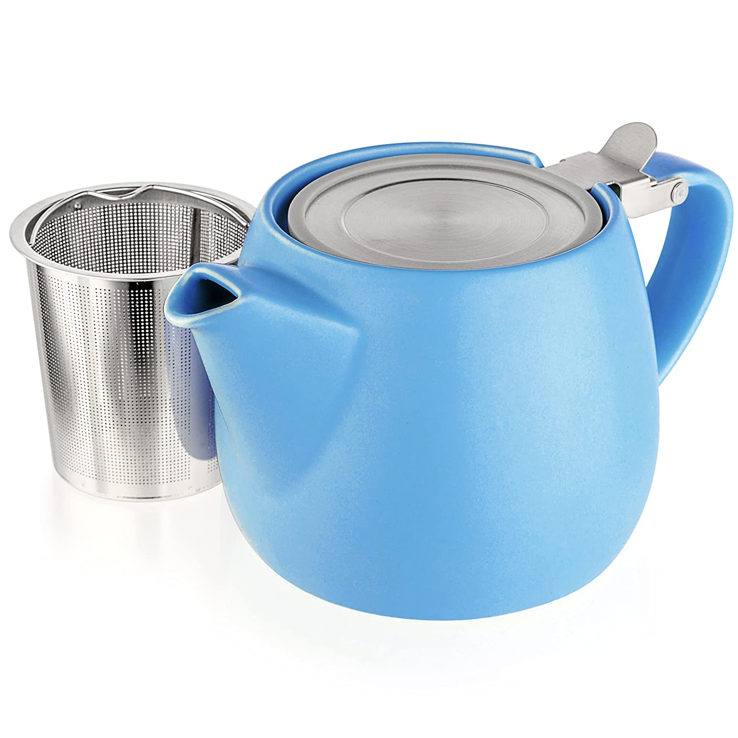Tealyra - Pluto Porcelain Small Teapot Blue - 18.2-ounce (1-2 cups) - Matte Finish - Stainless Steel Lid and Extra-Fine Infuser To Brew Loose Leaf Tea - Ceramic Tea Brewer - 540ml
